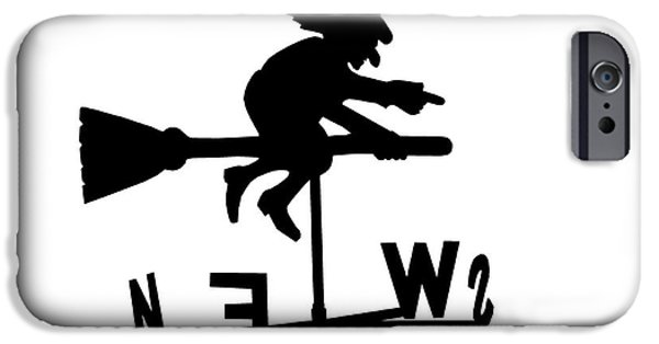 Weathervane Photographs iPhone Cases - Witch on a broomstick iPhone Case by Simon Bratt Photography LRPS