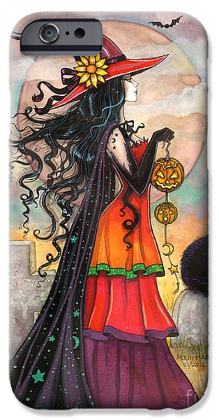 Witch Halloween Cat Wicca Paintings iPhone Cases - Witch Way iPhone Case by Molly Harrison