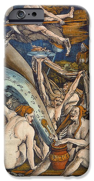 Flying Animals iPhone Cases - Witches iPhone Case by Hans Baldung Grien