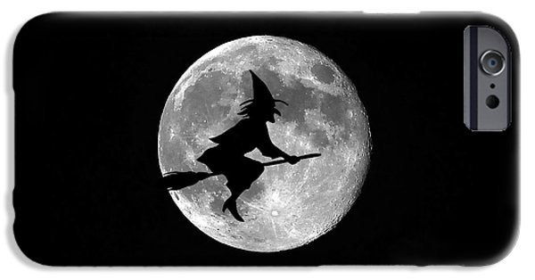 Moonscape Digital Art iPhone Cases - Witchy Moon iPhone Case by Al Powell Photography USA