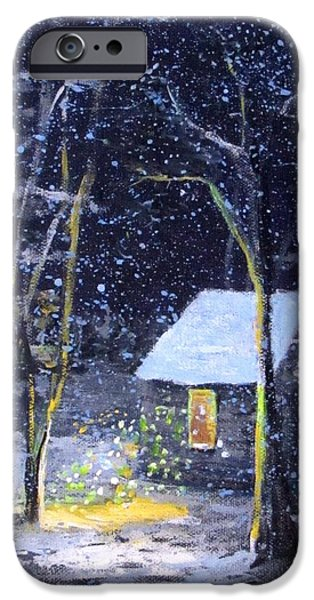 Thoreaus Cabin iPhone Cases - Wintery  night at Thoreaus Cove iPhone Case by Jack Skinner