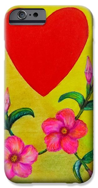 Flora Drawings iPhone Cases - With Love iPhone Case by Zina Stromberg