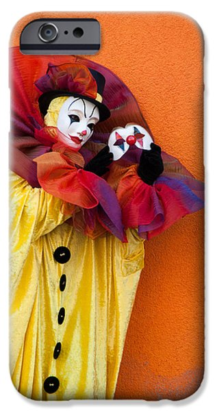 Portrait Of Evil iPhone Cases - with Mask alone iPhone Case by Zina Zinchik