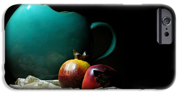Still Life With Pitcher iPhone Cases - With Pomegranate iPhone Case by Diana Angstadt