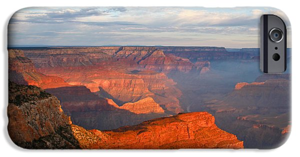 Grand Canyon iPhone Cases - With The Morning Sun On My Back iPhone Case by Heidi Smith