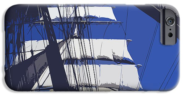 Tall Ship Mixed Media iPhone Cases - With the wind in her sails iPhone Case by Anthony Dalton