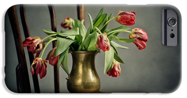 Chair Digital iPhone Cases - Withered Tulips iPhone Case by Nailia Schwarz
