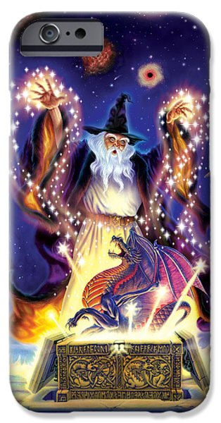 Power iPhone Cases - Wizard Dragon Spell iPhone Case by Andrew Farley