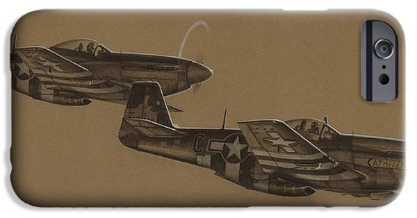 P-51 Mustang iPhone Cases - Wizard Kites iPhone Case by Wade Meyers
