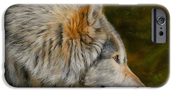 Timber Wolf iPhone Cases - Wolf 4 iPhone Case by David Stribbling