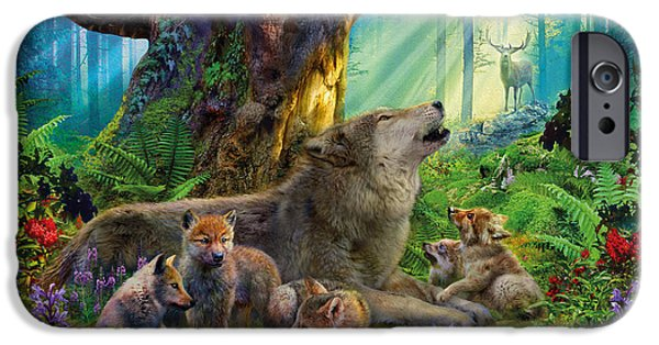 Wolf Digital Art iPhone Cases - Wolf and Cubs in the Woods iPhone Case by Jan Patrik Krasny