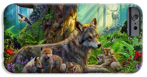 Wolf Digital Art iPhone Cases - Wolf and Cubs iPhone Case by Jan Patrik Krasny