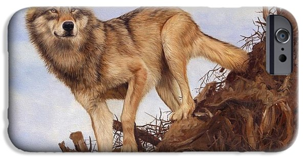 Timber Wolf iPhone Cases - Wolf and Tree Root iPhone Case by David Stribbling