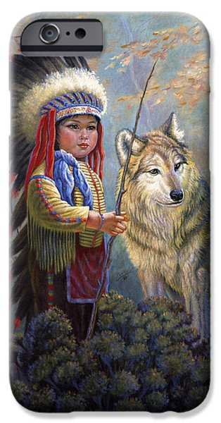 Snow Scene iPhone Cases - Wolf Boy iPhone Case by Gregory Perillo
