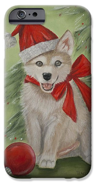 Christmas Pastels iPhone Cases - Wolf Cub for Christmas iPhone Case by Teresa LeClerc