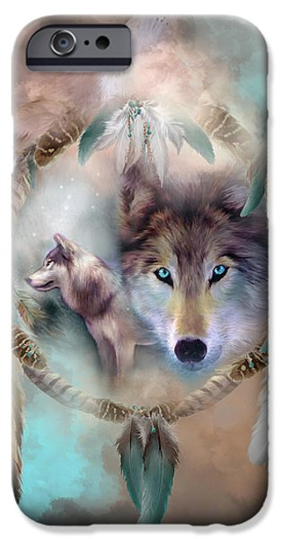 Native American Art iPhone Cases - Wolf - Dreams Of Peace iPhone Case by Carol Cavalaris