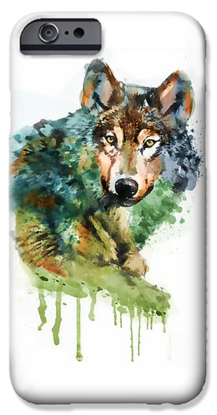Canine Mixed Media iPhone Cases - Wolf face watercolor iPhone Case by Marian Voicu