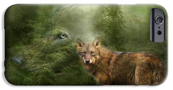 Tree Art Print Mixed Media iPhone Cases - Wolf - Forest Spirit iPhone Case by Carol Cavalaris