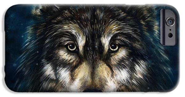 Black Dog iPhone Cases - Wolf Head iPhone Case by Marcin Moderski