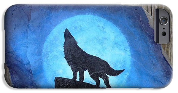 Native Sculptures iPhone Cases - Wolf Howl2 iPhone Case by Monika Shepherdson