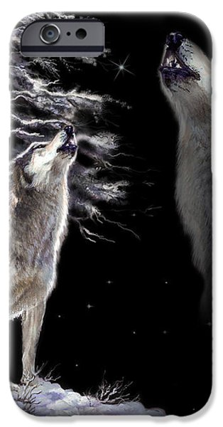 Wolf  howling memory iPhone Case by Gina Femrite