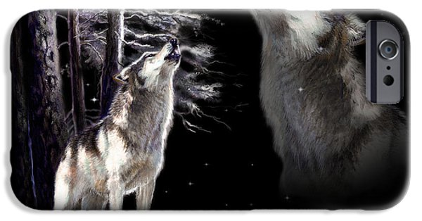 Original Acrylic iPhone Cases - Wolf  howling memory iPhone Case by Gina Femrite