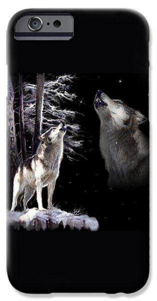 Animal Cards iPhone Cases - Wolf  howling memory iPhone Case by Gina Femrite
