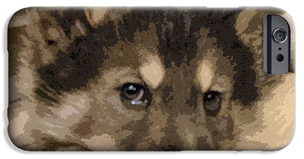 Puppies Digital Art iPhone Cases - Wolf Hybrid Pup iPhone Case by May Finch