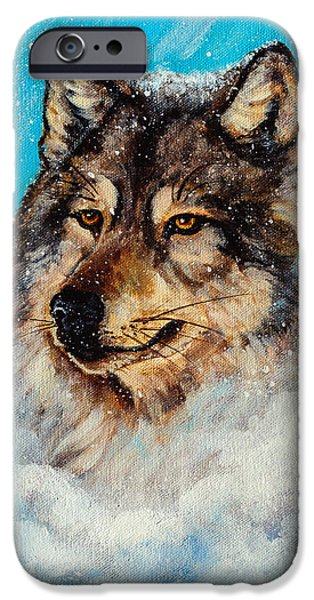 Canis Lupus Mixed Media iPhone Cases - Wolf in a Snow Storm iPhone Case by  Bob and Nadine Johnston