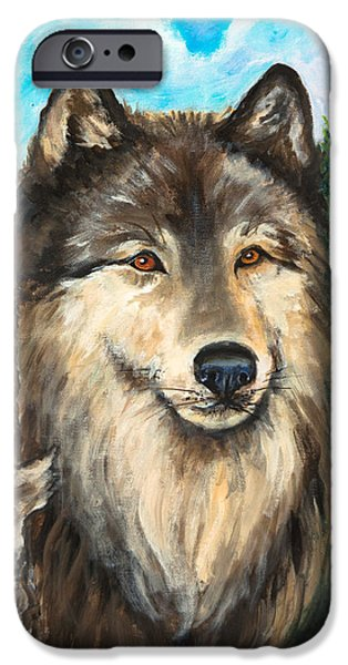 Dogs iPhone Cases - Wolf in the Aspens OriginalPainting ForSale iPhone Case by  Nadine Johnston