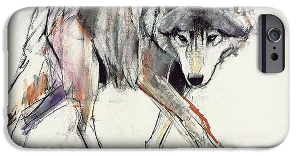 Creatures Paintings iPhone Cases - Wolf  iPhone Case by Mark Adlington