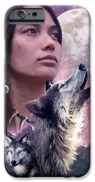 Native American Spirit Portrait iPhone Cases - Wolf Montage iPhone Case by Garry Walton