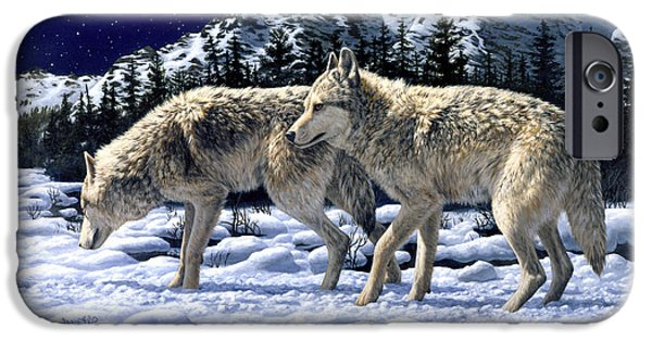 Dog In Snow iPhone Cases - Wolf Painting iPhone Case iPhone Case by Crista Forest
