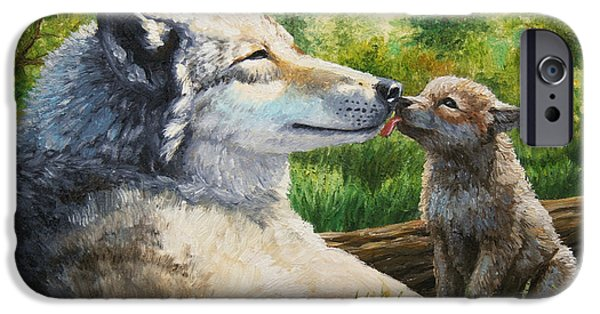 Pup iPhone Cases - Wolf Painting - Spring Kisses iPhone Case by Crista Forest