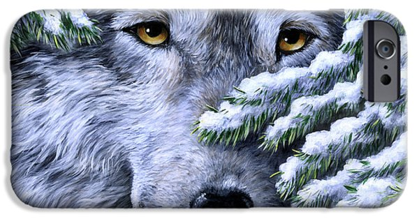 Dog Close-up Paintings iPhone Cases - Wolf - Peering Out iPhone Case by Sharon Molinaro