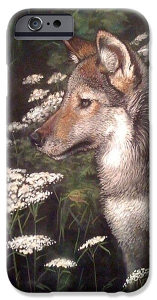 Pollock Pastels iPhone Cases - Wolf Pup with White Blooms iPhone Case by Frankie Paquin
