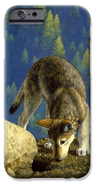 Wild Animals iPhone Cases - Wolf Pups - Anybody Home iPhone Case by Crista Forest