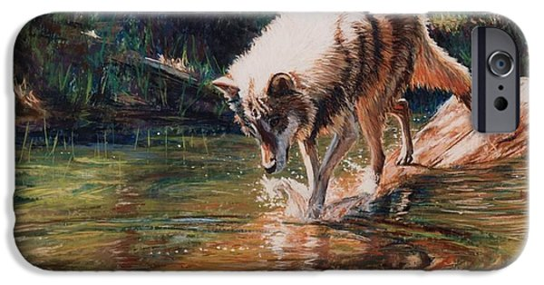 Wild Animals Pastels iPhone Cases - Wolf Quest iPhone Case by Kay Ridge