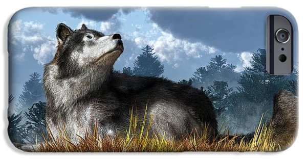 Loup iPhone Cases - Wolf Resting in Grass iPhone Case by Daniel Eskridge