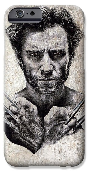 Science Fiction Drawings iPhone Cases - Wolverine splash effect iPhone Case by Andrew Read