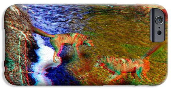 Dog In Landscape iPhone Cases - Wolves 3D Anaglyph iPhone Case by Daniel Janda