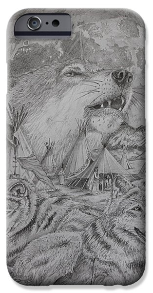 Montage Drawings iPhone Cases - Wolves and Natives in Perfect Harmony iPhone Case by Mark Harris