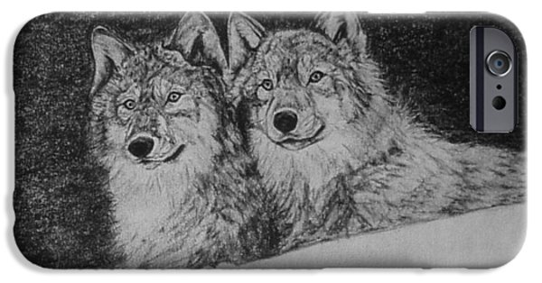 Wintertime Drawings iPhone Cases - Wolves in Snow iPhone Case by Currie Smith