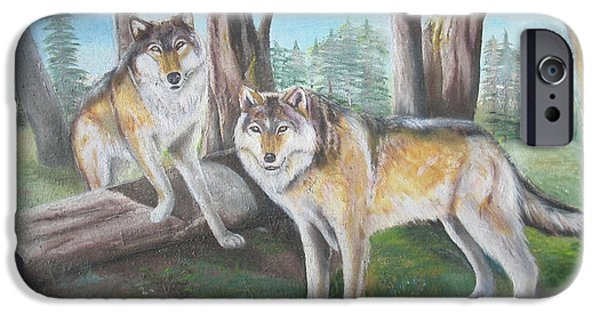 Canis Lupus Mixed Media iPhone Cases - Wolves in the Forest iPhone Case by Thomas J Herring