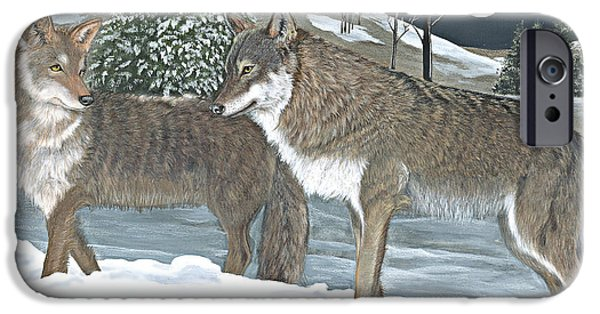 Snowy Night Pastels iPhone Cases - Wolves iPhone Case by Sally  Evans