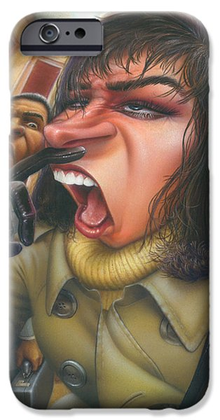Business Paintings iPhone Cases - Woman About To Sneeze In Elevator - Flu Season - Sneezing - Common Cold - Humorous - Illustration iPhone Case by Walt Curlee