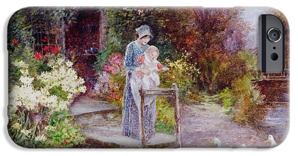 Garden iPhone Cases - Woman and Child in a Cottage Garden iPhone Case by Florence Agnes Mackay