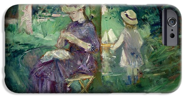 Sewing iPhone Cases - Woman And Child In A Garden, C.1883-84 iPhone Case by Berthe Morisot