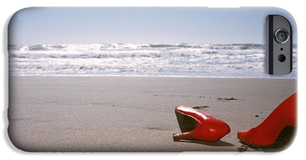 Surf Lifestyle Photographs iPhone Cases - Woman And High Heels On Beach iPhone Case by Panoramic Images
