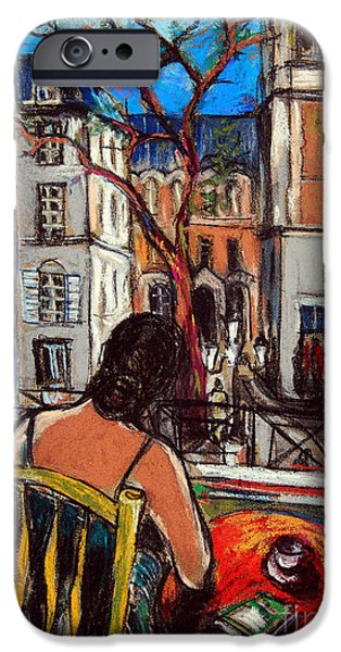 Balcony Pastels iPhone Cases - Woman At Window iPhone Case by Mona Edulesco